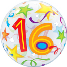"16 Birthday Stars Bubble Balloon (22"") 1pc"